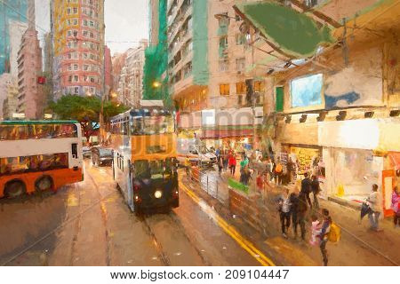 View from upper deck of double-decker tramway in Hong Kong
