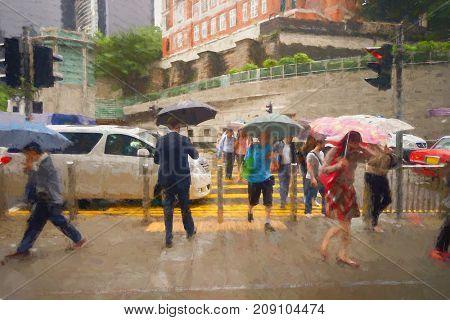 People walking on Hong Kong street at rainy day