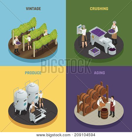 Wine production 2x2 design concept with vintage crushing produce and aging square compositions isometric vector illustration