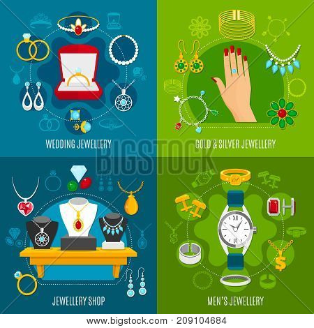 Jewelry design concept including wedding accessories, gold and silver decoration, mens valuables, shop isolated vector illustration