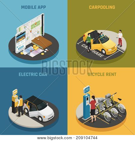 Carsharing 2x2 design concept with mobile app electric car bicycle rent and carpooling square icons isometric vector illustration