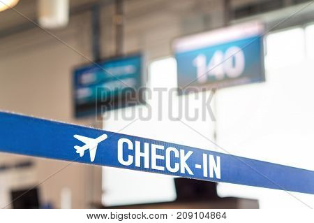 Check in desk at airport. Customer service counter in terminal.