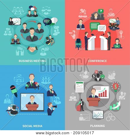 Business meeting 2x2 design concept with collection of social media images financial pictograms flat human characters vector illustration
