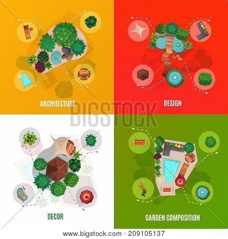Landscape design concept top view including courtyard architecture, decor and garden compositions isolated vector illustration