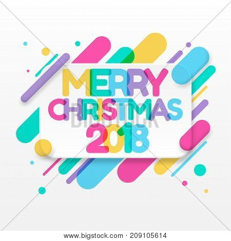 Merry Christmas greeting card with abstract colored rounded shapes lines in diagonal rhythm. For greeting card, poster, brochure or flyer template. Vector illustration.