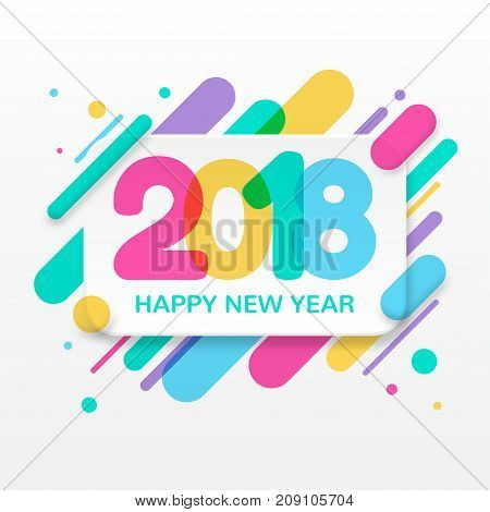 2018 Happy New Year greeting card with abstract colored rounded shapes lines in diagonal rhythm. For greeting card, poster, brochure or flyer template. Vector illustration.