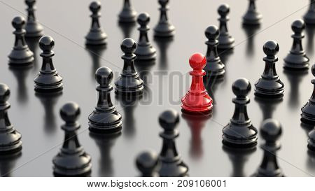 Leadership success and teamwork concept red pawn of chess standing out from the crowd of black pawns. 3D rendering.