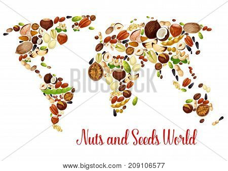 Nut world map with seed and bean. Almond, peanut, walnut, pistachio, hazelnut, cashew, sunflower and pumpkin seed, pecan, macadamia, coconut, pine and brazil nuts, soy bean and chestnut vector map