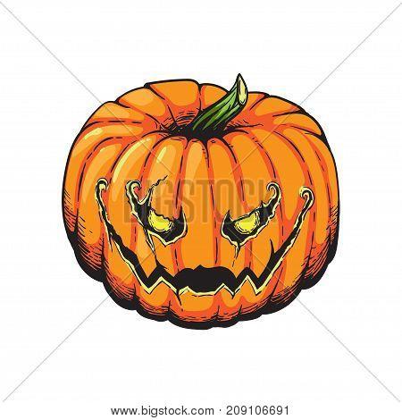 Jack Lantern Pumpkin Halloween Hand Drawn Illustration