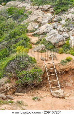 Stairs In Beach Trail  In Cabo De Sao Vicente