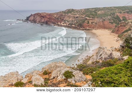 Vegetation, Cliffs And Ocean In Cabo De Sao Vicente