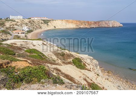 Mareta beach and cliffs  in Sagres Algarve Portugal