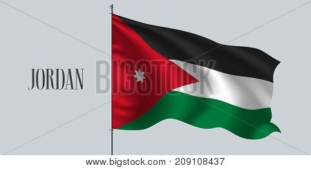 Jordan waving flag on flagpole vector illustration. Three colors element of Jordanian wavy realistic flag as a symbol of country