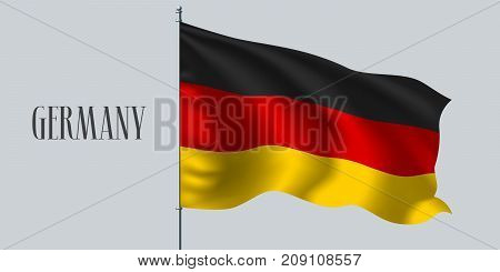 Germany waving flag on flagpole vector illustration. Three colors element of German wavy realistic flag as a symbol of country