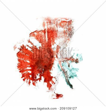 art Red, green watercolor ink paint blob watercolour splash colorful stain isolated on white background