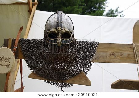 Metal Viking with chain-mail with carvings on board