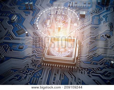 Bitcoin hologram over CPU core and computer circuit board or motherboard. Cryptocurrency mining concept. 3d illustration