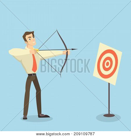 Man with bow, arrow and target. Businesswoman archer targeting in center.
