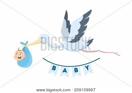 Stork with baby boy in blue sheet on white background.