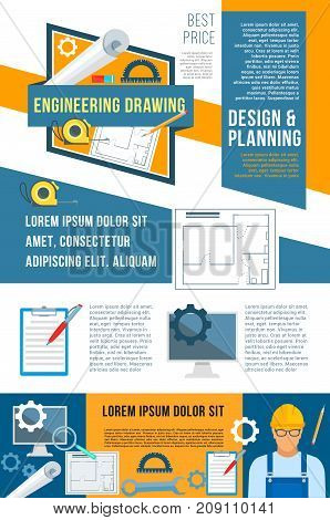 Construction, planning and building design banner for architecture company template. Engineering drawings, house plan, builder with tool, spanner, tape measure and ruler vector poster design