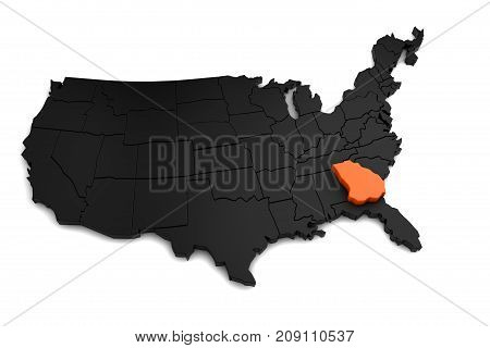 United States of America, 3d black map, with Georgia state highlighted in orange. 3d render