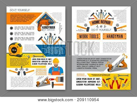 Home repair work tool banner template set. Screwdriver, hammer, drill, spanner, pliers, wrench, paint brush, trowel, measure tape, screw vector instrument and equipment for construction themes design