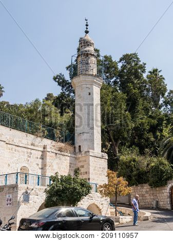 Jerusalem Israel September 16 2017 : Mosque with the minaret which are near the Mary's Spring in old city of Jerusalem Israel