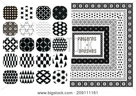 Collection of 20 Black Geometric Seamless Patterns and 6 Flexible, Color, Size and Shape adjustable Pattern Brushes with outer and inner tiles. Vector Illustration. Ornamental Repeating Backgrounds