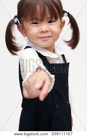 Japanese Girl Pointing At The Camera In Formal Wear (2 Years Old)