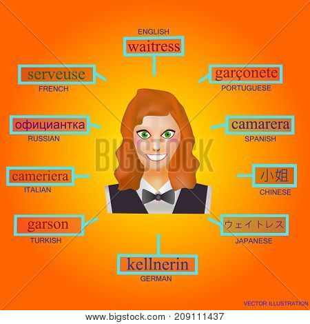 Avatar of a woman in the professional form of waitress. Image for learning the word waitress in English German French Italian Spanish Japanese Russian Portuguese Turkish. Avatars for studying.