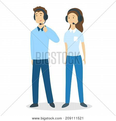 Call center couple. Man and woman with headset and mic on white background.