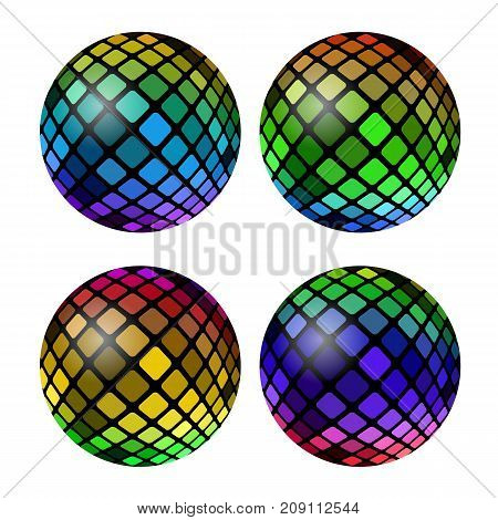 Colored Mosaic Ball Set Isolated on White Background