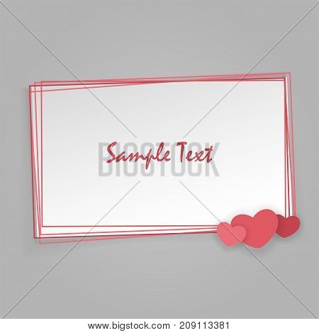 Mock up material soft template backdrop. Empty greeting card Valentines Day holiday. Vintage romantic origami paper heart shape long shadow frame. Retro border Valentine's love design.