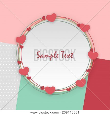 soft mint color template backdrop Mock up material. Empty greeting card Valentines Day holiday. Vintage romantic origami paper heart shape long shadow frame. Retro border Valentine's love design.