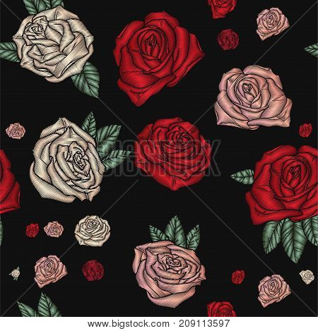 Embroidery seamless pattern with roses. Vector embroidered traditional floral design for fashion fabric. Beautiful decorative Flowers on black background.