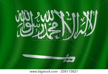 Flag of Saudi Arabia 3d vector with arabic inscription and sword on green field. National banner of Saudi Arabia for asian travel, Arabia sovereign state history and patriotism themes design