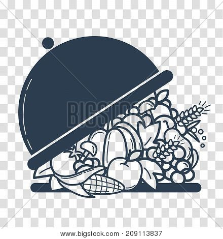 Silhouette Of Nutrition Linear Style White Background