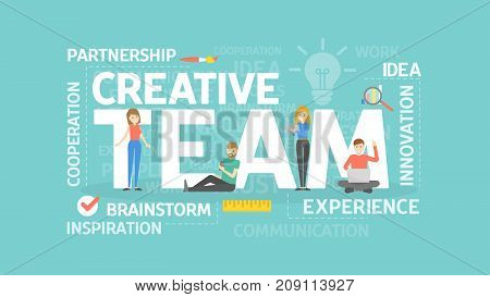 Creative team concept illustration. Idea of cooperation, brainstorming and innovation.
