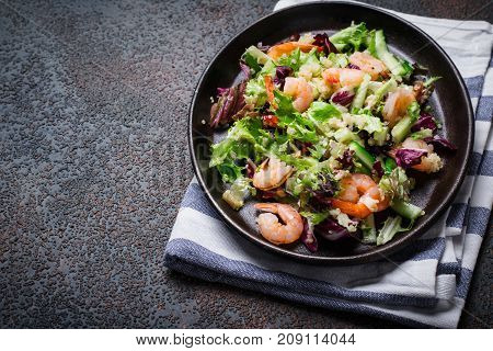 Fresh quinoa vegetables salad with shrimp. Clean healthy detox eating