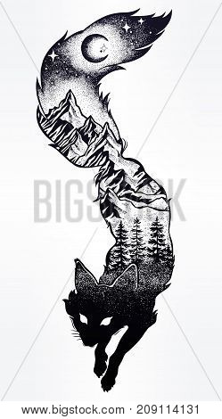 Double exposure, deocrative fox with nature pine forest cones with mountains landscape, night sky. Isolated vintage vector illustration.Tattoo, travel, adventure, wildlife symbol. The great outdoors.