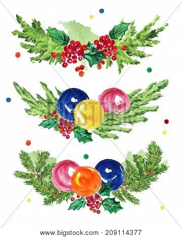 Watercolor artistic hand drawn christmas compositions set isolated on white background. Happy New year & Merry Xmas congratulation design set. Good for party flayer card leaflet banner postcard.
