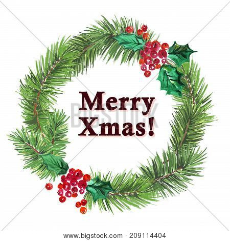 Watercolor artistic hand drawn christmas fir tree wreath decorated with holly berry element & congratulation isolated on white background. Happy New year & Merry Xmas party flayer card design