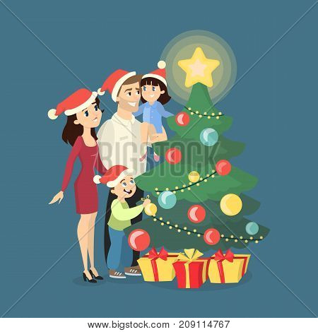 Family at Christmas. All members standing near christmas tree in santa hats. Tree with bright star.