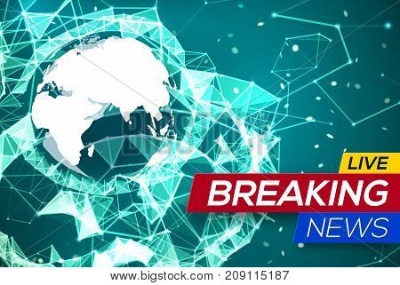 Breaking News Live with World Map Africa and Europe on Green Structure Background. Business Technology News Background with Earth Planet. Abstract Geometric Network with Particles. Vector Illustration
