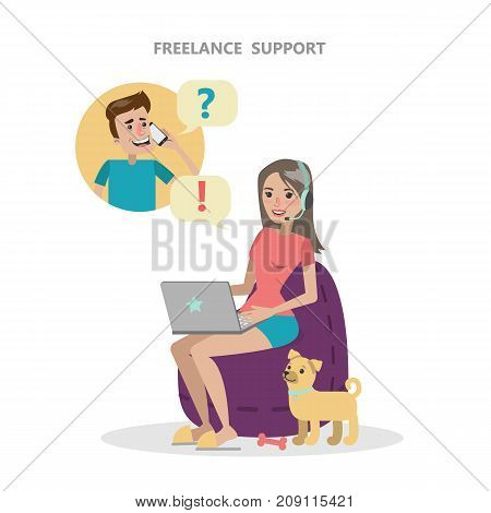 Isolated freelance support. Woman with headset answering the call.