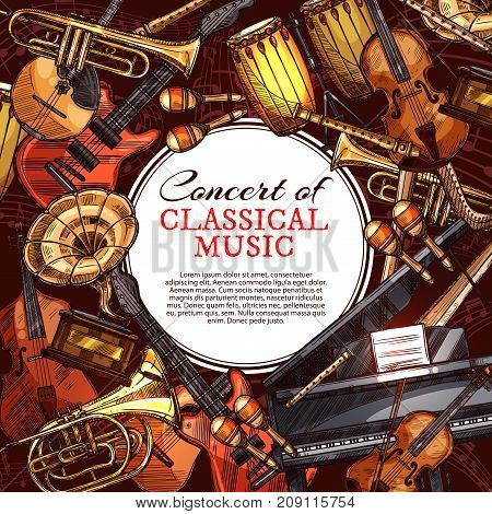 Music concert poster with musical instrument sketches. Guitar, piano, drum, jazz trumpet and horn, viola, electric guitar, flute, harp, maracas, mandolin, musical notes on stave vector banner design