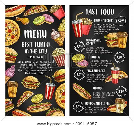Fast food restaurant menu banner with fastfood lunch dishes list on chalkboard. Hamburger, hot dog, fries, soda, donut, coffee, pizza, cheeseburger, chicken, ice cream, popcorn chalk sketch poster