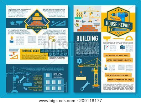 Building construction, finishing work and home repair poster template set. Construction site with equipment and crane, work tool, spanner, drill, wrench, brick wall and trowel vector banner design