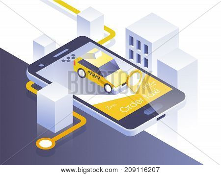 Taxi service mobile application. Isometric city and car on smart phone. Navigate app. Vector illustration.