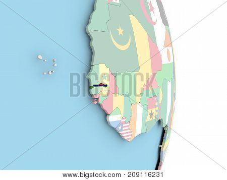 Gambia With Flag On Globe